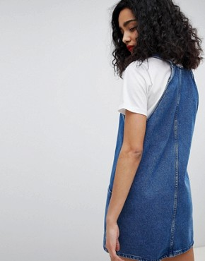 photo Denim Pinny Dress by New Look, color Mid Blue - Image 2