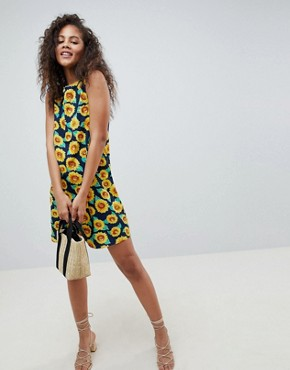 photo Sleeveless Shift Dress with Tie Back in Sunflower Print by Glamorous Tall, color Sunflower - Image 4