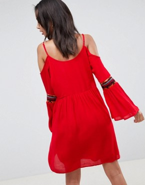 photo Cold Shoulder Swing Dress with Embroidery by Glamorous Tall, color Red - Image 2