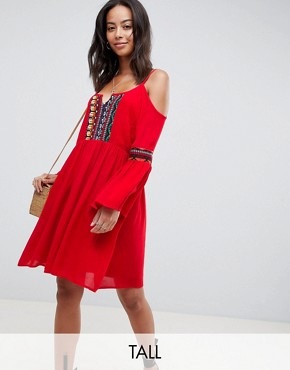 photo Cold Shoulder Swing Dress with Embroidery by Glamorous Tall, color Red - Image 1
