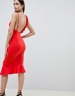 photo Corsage Strap Pephem Midi Dress by ASOS DESIGN, color Red - Image 2