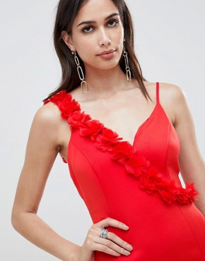 photo Corsage Strap Pephem Midi Dress by ASOS DESIGN, color Red - Image 3