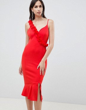 photo Corsage Strap Pephem Midi Dress by ASOS DESIGN, color Red - Image 4