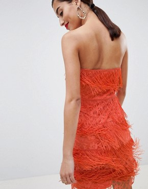 photo Lace Insert Fringe Bandeau Mini Dress by ASOS DESIGN, color Coral - Image 2