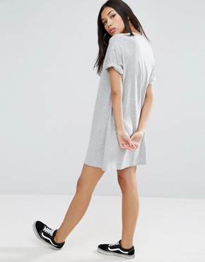 photo t-shirt Dress with Rolled Sleeves by ASOS DESIGN Ultimate, color Grey Marl - Image 2