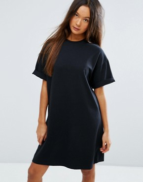 photo T-Shirt Dress with Rolled Sleeves by ASOS DESIGN Ultimate, color Black - Image 1