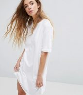 photo t-shirt Dress with Rolled Sleeves by ASOS DESIGN Ultimate, color White - Image 1