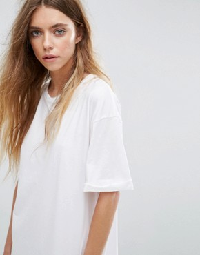 photo t-shirt Dress with Rolled Sleeves by ASOS DESIGN Ultimate, color White - Image 3