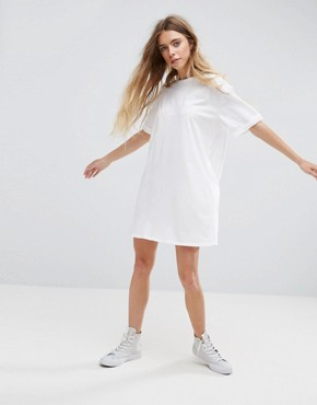 photo t-shirt Dress with Rolled Sleeves by ASOS DESIGN Ultimate, color White - Image 4