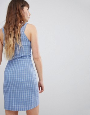 photo Pinafore Dress in Check by Daisy Street, color Blue Check - Image 2