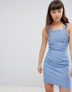 photo Pinafore Dress in Check by Daisy Street, color Blue Check - Image 1
