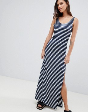 photo Stripe Maxi Dress by Vila, color Navy/White - Image 1