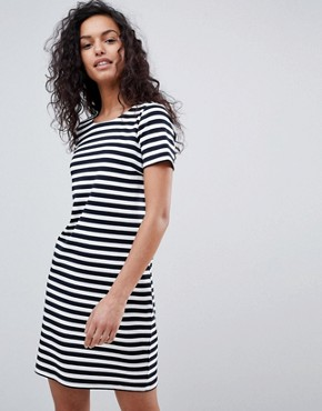 photo Stripe Short Sleeve Dress by Vila, color White/Navy - Image 1