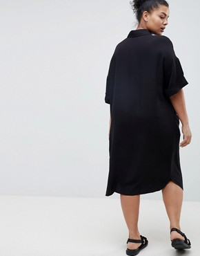 photo Short Sleeve Shirt Dress with Drape Pockets by ASOS DESIGN Curve, color Black - Image 2