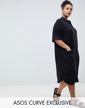 photo Short Sleeve Shirt Dress with Drape Pockets by ASOS DESIGN Curve, color Black - Image 1