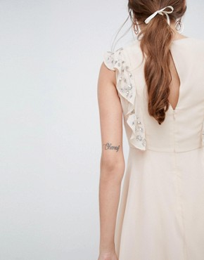 photo Mini Skater Dress with Embellished Frill Sleeves by ASOS DESIGN, color Nude - Image 2