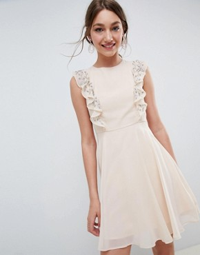 photo Mini Skater Dress with Embellished Frill Sleeves by ASOS DESIGN, color Nude - Image 1