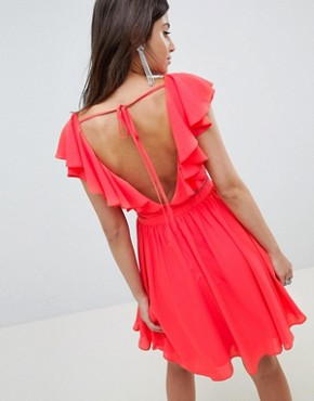 photo Lace Insert Mini Dress with Ruffle Bodice by ASOS DESIGN, color Bright Red - Image 2