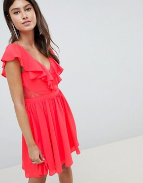 photo Lace Insert Mini Dress with Ruffle Bodice by ASOS DESIGN, color Bright Red - Image 1