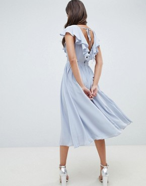photo Lace Insert Midi Dress with Ruffle Bodice by ASOS DESIGN, color Ice Blue - Image 2