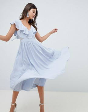photo Lace Insert Midi Dress with Ruffle Bodice by ASOS DESIGN, color Ice Blue - Image 1