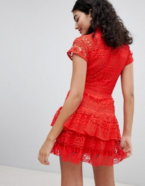 photo High Neck Lace Tiered Dress by PrettyLittleThing, color Red - Image 2