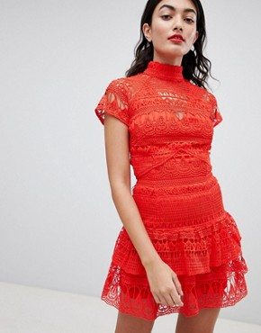 photo High Neck Lace Tiered Dress by PrettyLittleThing, color Red - Image 1