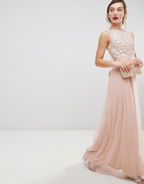 photo Tulle Maxi Dress with Embellished Upper by Frock and Frill, color Rose - Image 1
