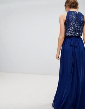 photo Maxi Dress with Heavily Embellished Body by Frock and Frill, color Navy - Image 2