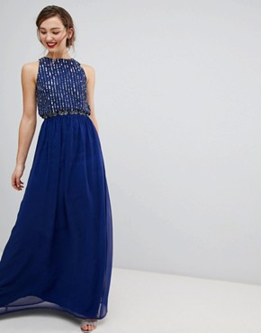 photo Maxi Dress with Heavily Embellished Body by Frock and Frill, color Navy - Image 1