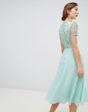 photo Short Sleeve Skater Dress with Embellished Detail by Frock and Frill, color Seafoam - Image 2