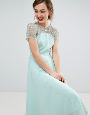 photo Short Sleeve Skater Dress with Embellished Detail by Frock and Frill, color Seafoam - Image 1