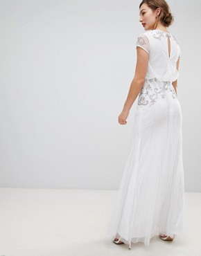 photo Capped Sleeve Chiffon Overlay Maxi Dress with Embellished Detail by Frock and Frill, color White - Image 2