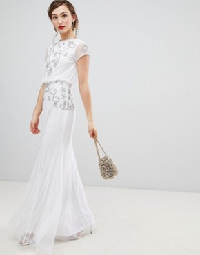 photo Capped Sleeve Chiffon Overlay Maxi Dress with Embellished Detail by Frock and Frill, color White - Image 1