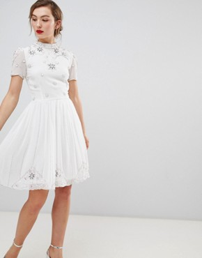 photo High Neck Skarer Dress with Embellished Detail by Frock and Frill, color White - Image 1
