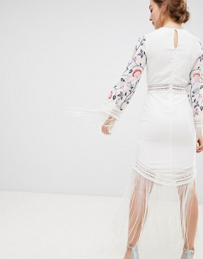 photo Long Sleeve Embroidered Dress with Fringed Detail by Frock and Frill, color White - Image 2