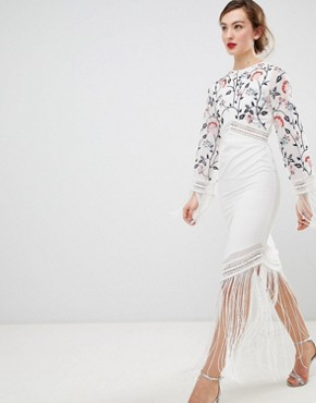 photo Long Sleeve Embroidered Dress with Fringed Detail by Frock and Frill, color White - Image 1