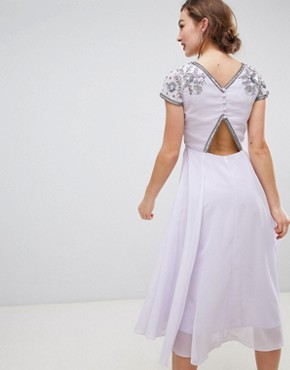 photo Capped Sleeve Midi Dress with Embellished Detail by Frock and Frill, color Lilac - Image 2