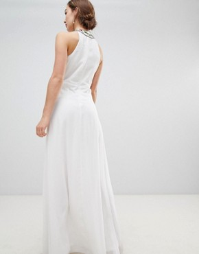 photo High Neck Maxi Dress with Rainbow Embellishment by Frock and Frill, color White - Image 2