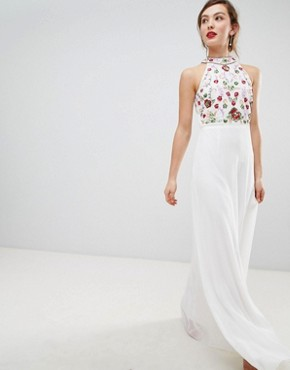 photo High Neck Maxi Dress with Rainbow Embellishment by Frock and Frill, color White - Image 1