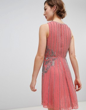 photo Heavily Embellished Swing Dress by Frock and Frill, color Pink - Image 2