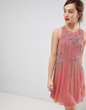 photo Heavily Embellished Swing Dress by Frock and Frill, color Pink - Image 1