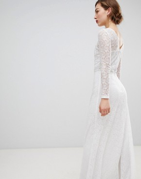 photo Long Sleeve Lace Maxi Dress with Embellished Detail by Frock and Frill, color White - Image 2