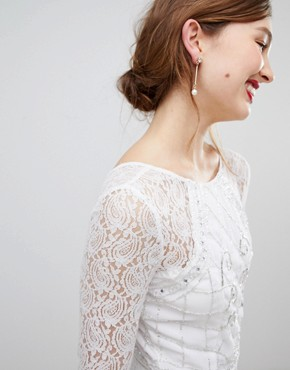 photo Long Sleeve Lace Maxi Dress with Embellished Detail by Frock and Frill, color White - Image 3