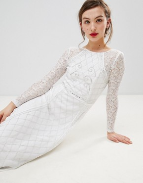 photo Long Sleeve Lace Maxi Dress with Embellished Detail by Frock and Frill, color White - Image 4