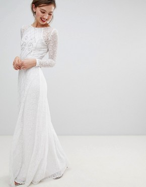 photo Long Sleeve Lace Maxi Dress with Embellished Detail by Frock and Frill, color White - Image 1