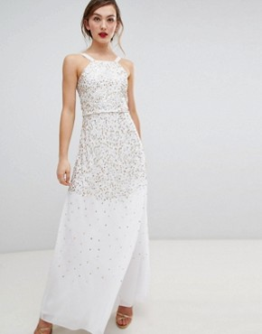 photo Scatter Sequin Maxi Dress by Frock and Frill, color Cream - Image 1