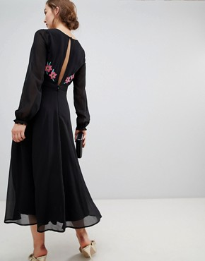 photo Long Sleeve Embroidered Dress with Open Back by Frock and Frill, color Black - Image 2