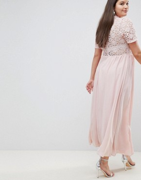 photo High Neck Cutwork Lace Top Maxi Dress by John Zack Plus, color Nude - Image 2
