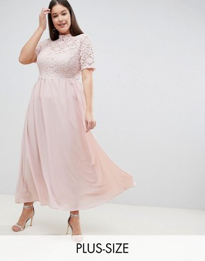 photo High Neck Cutwork Lace Top Maxi Dress by John Zack Plus, color Nude - Image 1